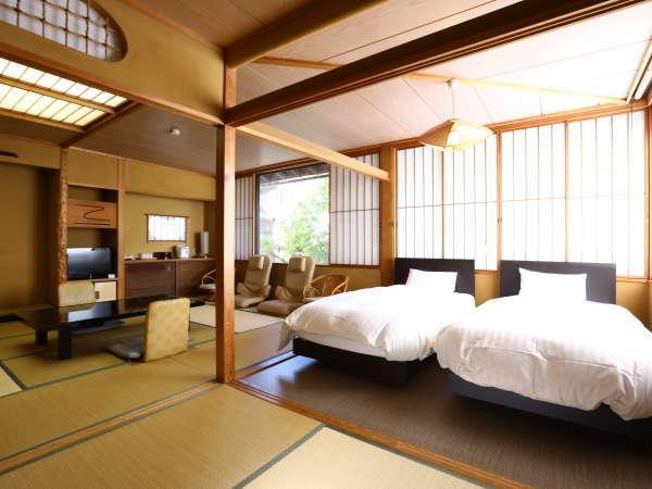 【和洋室】ベッドのある落ち着いた雰囲気のお部屋でお寛ぎください