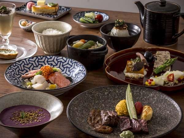 【ご夕食 蓼科 山キュイジーヌ】秋メニュー(一例)お食事は【個室レストラン】にて。