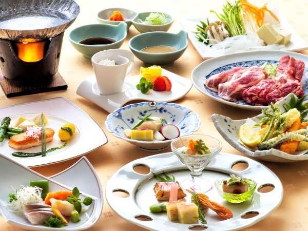 夕食/「蔵王牛×米の娘豚×ラム肉」三種盛りしゃぶしゃぶ・和洋折衷膳