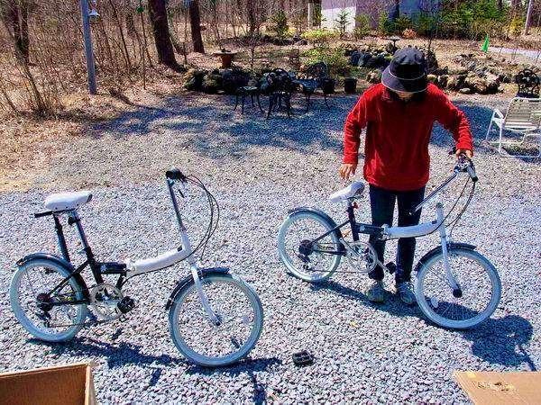 無料レンタルサイクルが8台あります。これで観光地をまわれます。