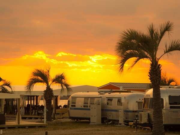 【パームガーデンの景色】きれいな夕日も見れます。