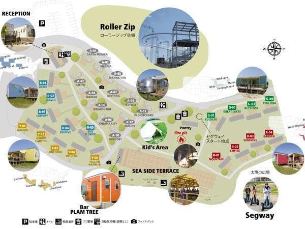 パームガーデン舞洲「地図」エアストリームにトレーラーハウス、ローラージップなど