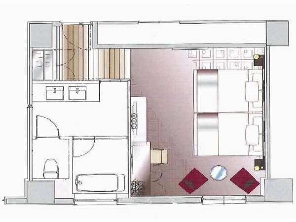 ビューバスツインルーム(36.4㎡〉平面図ベッドは140cm幅の物を2台並べてご用意。