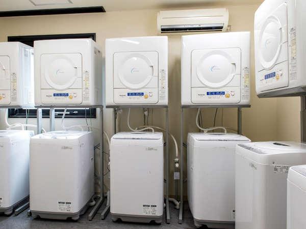 ランドリーは洗濯・乾燥ともに無料。備え付けの洗剤をご利用ください