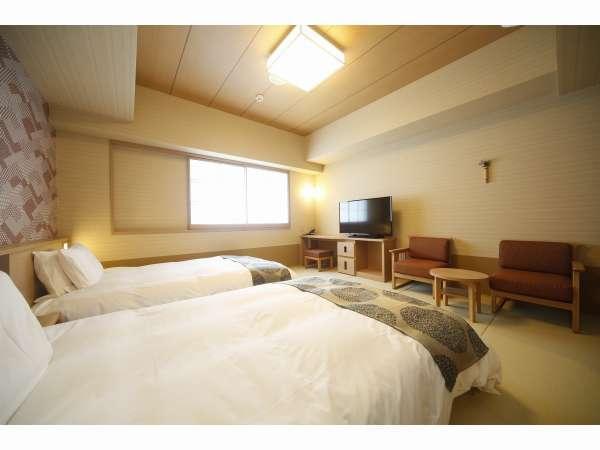 ■デラックスツイン・27㎡・サータ社製ベッド■