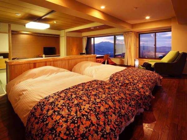 【バリアフリー客室(54㎡)】和室10畳+洋室。シモンズベット使用。MIKIMOTOコスメ付。Wi-Fi対応。