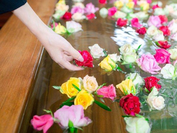 【バラ妃乃湯】毎日15時~22時は女性露天「こもれびの湯」にバラを浮かべます♪