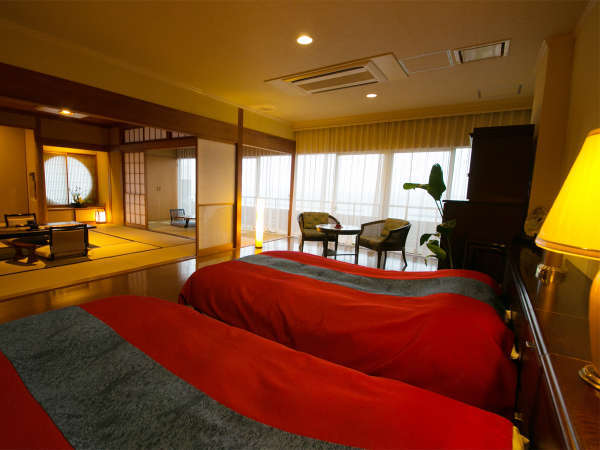 ◆和洋室-島津の間-◆錦江湾を臨む島津の間。晴れた日は知林ヶ島や大隅半島をご覧いただけます。