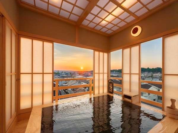 リニューアル特別貸切風呂、夕日の時間がオススメ♪