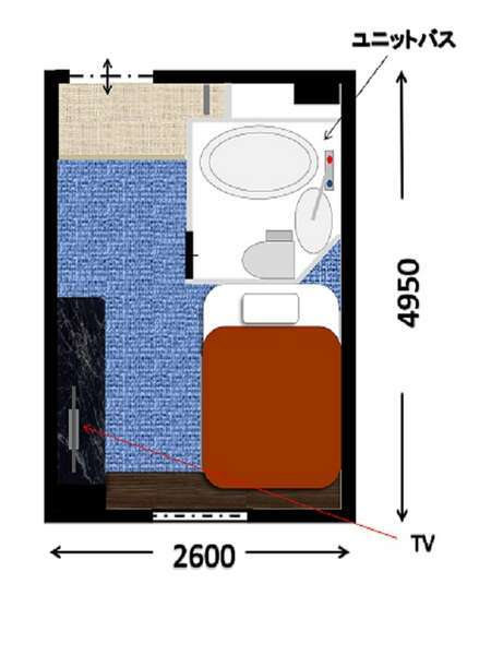 ダブルルーム間取り・約12㎡※低層階から高層階のお部屋の広さ、ベッドサイズは同一です。