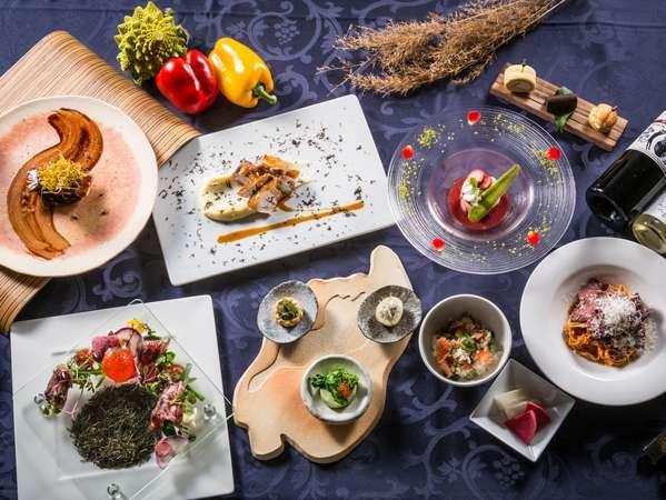 """【ディナーコース""""恵り""""】 滋賀に溢れるたくさんの恵みを一皿一皿で表現し、滋賀を巡る旅へ誘います"""