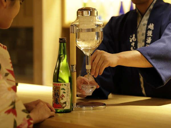 【食事処】当館では利き酒処をご準備。利き酒して頂き、是非、好きなお味を見つけて下さい。