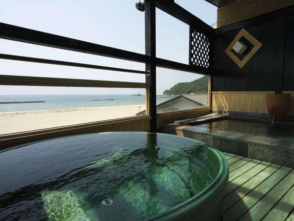 自慢の露天風呂付きの展望風呂は24時間入浴可!お湯はお肌にやさしい夕日ヶ浦温泉。