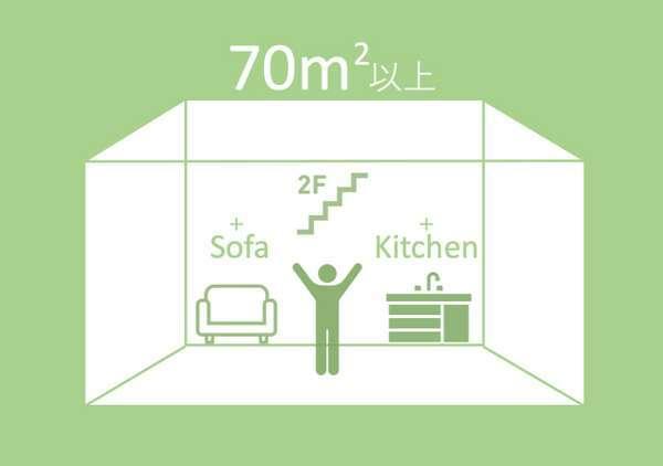 70㎡以上、ソファーあり、キッチンあり、2階