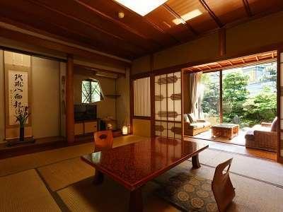 【和室一例】 わずか14室の客室はそれぞれ趣が異なり、古いながらも手入れを行き届かせている。