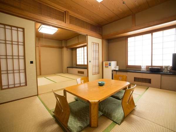 6畳と8畳の2間続きの広い和室2名様からご利用いただけます。