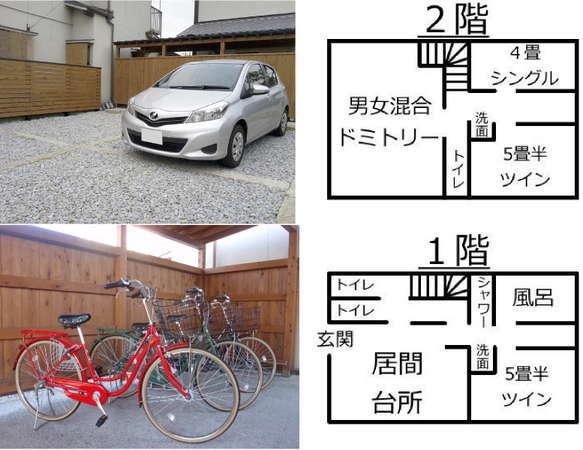(左上)駐車場、(左下)レンタサイクル、(右)間取り図