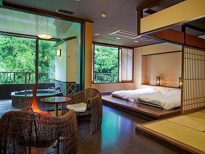 【六庄庵301 天】六庄庵でも一番広い96平米。開放的な浴室やリビングルームでおくつろぎください。。