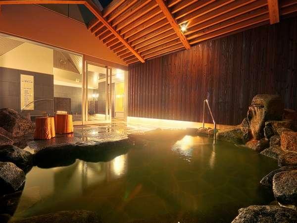 【秀長の湯・男湯】地下800mから湧き出る本物の天然温泉。宿泊の男女比で入替になる事がございます。