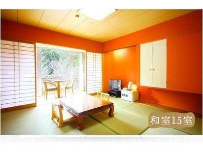 和室イメージ。全室に渓谷が見えるテラス付き。