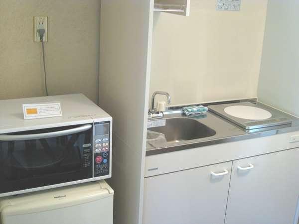 全室 台所完備 冷蔵庫・炊飯器・レンジなど無料で使えるのがうれしい!