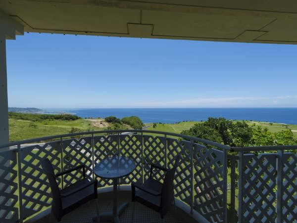 真っ青な空と海。遠くに見える水平線と芝生の緑を独り占めできる眺望。