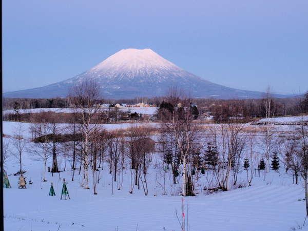 大きな窓から見える日没後の羊蹄山。頂上の白さがひときわ目立ちます。まさにWindow picture