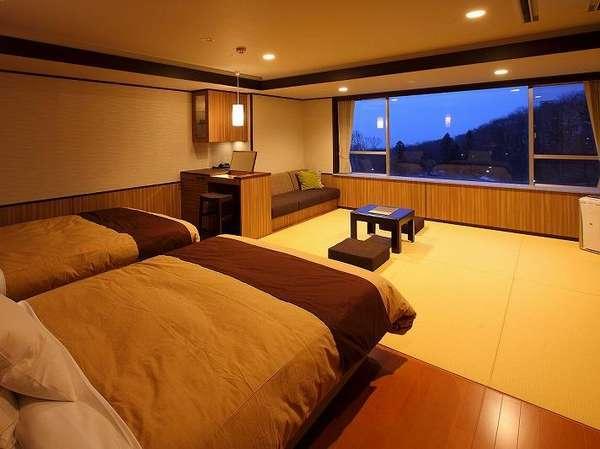 和洋室「月あかり」ツインベッド+6畳(44㎡)