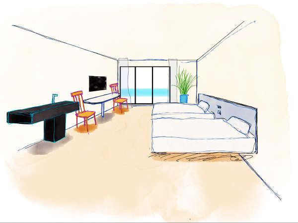 画家が描いた「コンセプトアートNo.001」。自然と調和した色彩の上質空間でお寛ぎください。