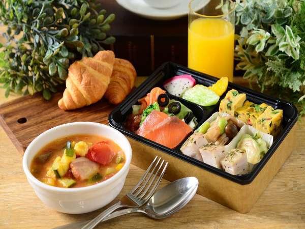 焼き立てパンやミネストローネ、卵料理の入ったモーニングBOX☆彡(洋食)