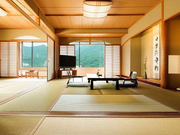 全室74平米以上、鬼怒川沿いのお部屋。畳からは井草の香りが漂います