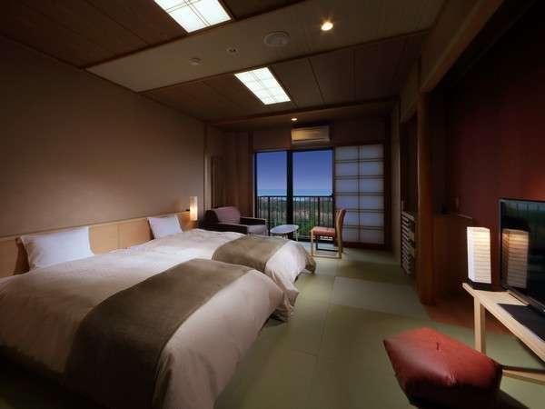 千里の風で一番オススメなスマート和モダン♪ベッドは2つあり3階からのオーシャンビューは最高。