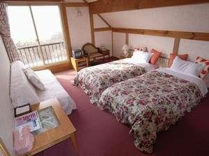 【全二室】眺望抜群ツイン。ベッドを入れて、最大四名様まで対応可。