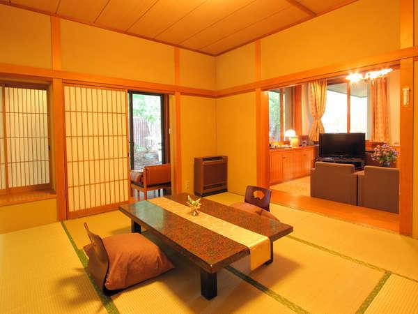 特別室。和室、茶室、応接室の三間。広々とした客室でゆったりと、贅沢なひとときをお過ごしください。