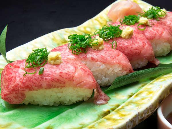 別注料理で人気の秋田錦牛炙り握り寿司!※内容はプランによって異なります。