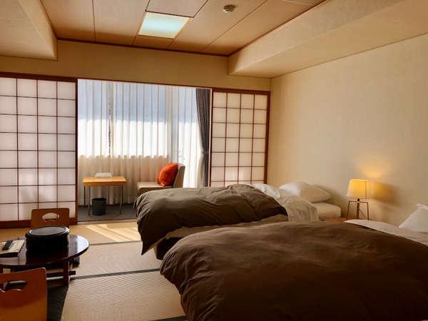 【和タイプツイン】和室にツインベッドを配置した和みの雰囲気♪2階にあるので足の悪い方におススメ。