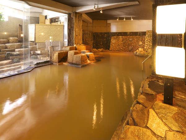 大浴場【地蔵の湯(じぞうのゆ)】名湯 黄金の湯(こがねのゆ)を贅沢に掛流ししております。