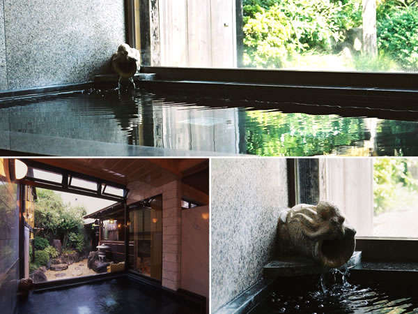 蛸壺をあしらった吐水口が印象的な庭園風呂
