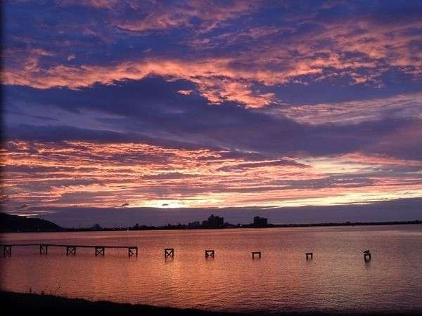 水明荘から見た東郷湖の絶景