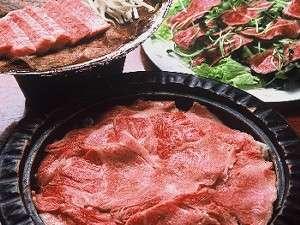 柔らかな飛騨牛ステーキ付き大満足プラン夕食(一例)。お食事はお部屋毎の個室で。