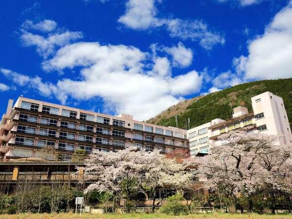 飛騨川から望む春の外観
