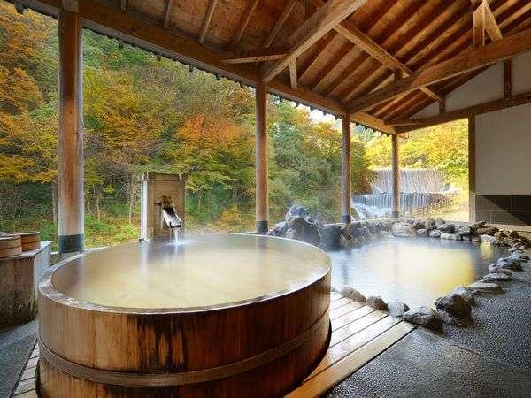 土湯温泉 山水荘 絶景露天風呂と庭園に和食のフルコースが自慢