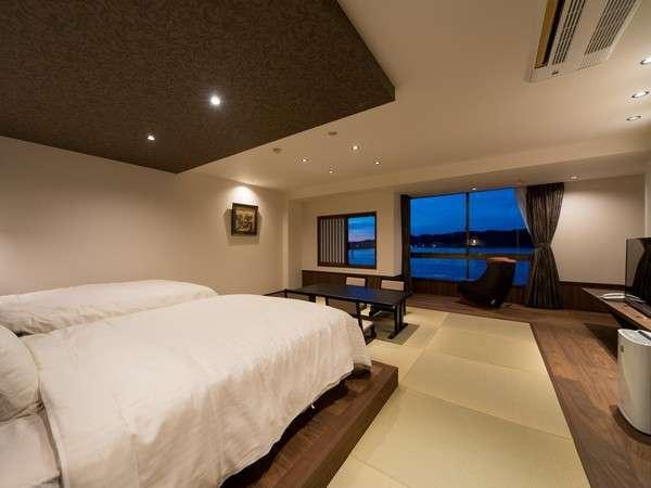 源泉掛け流し風呂付和洋室:4F「鹿子」客室 広々とした空間でごゆっくりとお寛ぎください♪