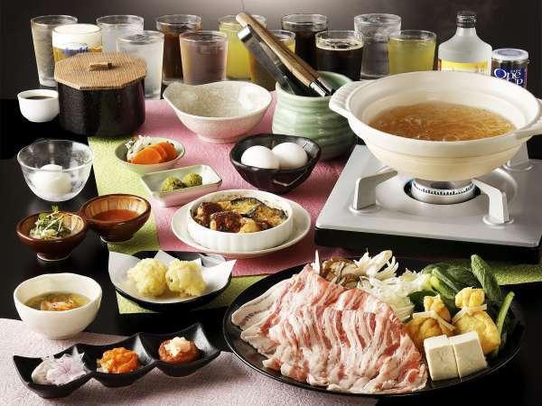 製美味出汁で食べる新感覚の国産豚のしゃぶしゃぶコース一例※飲み放題無料。