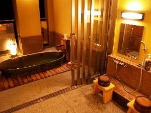 源泉掛け流しの貸切露天風呂で贅沢でプライベートな時間を♪ (写真は織部の湯)