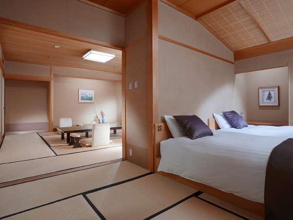 【臨川閣 和洋室一例】12.5畳+次の間にベッド2台+バルコニー・高野槙の室内温泉付