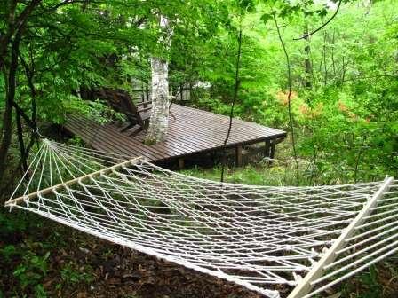 550坪の広い庭にはテラスや「森のハンモック」があります。森林浴に読書に!