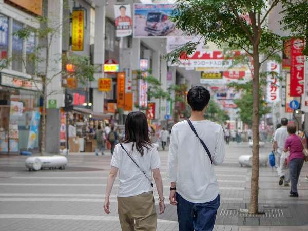 熊本のメインショッピングストリートまで徒歩1分!雨でも安心してお楽しみ頂けます。