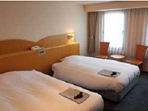 ツインルームはセミダブルとダブルベッドのゆとりのレイアウト※フロントと別棟になります。