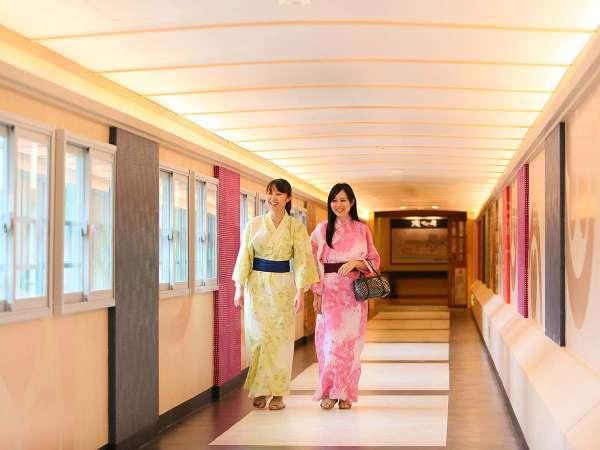 館内連絡路「虹の架け橋」では、那須塩原の美しい景色を眺望いただけます